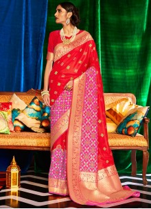 Red Silk Weaving Designer Saree