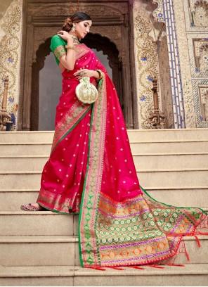 Red Silk Weaving Traditional Designer Saree