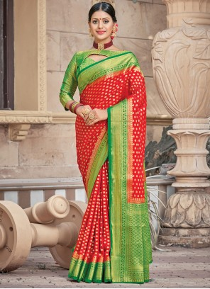 Red Silk Woven Traditional Saree