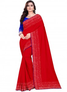 Red Stone Mehndi Designer Saree