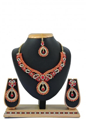 Red Stone Sangeet Necklace Set