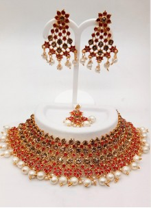 Red Stone Work Necklace Set