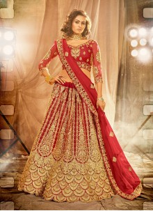 Red Stone Work Net Lehenga Choli