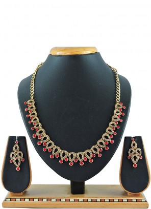 Red Stone Work Reception Necklace Set