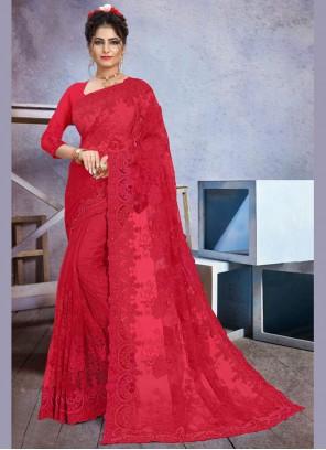 Red Stone Work Sangeet Trendy Saree
