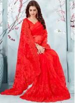 Red Traditional Designer Saree