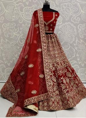 Red Velvet Embroidered Bollywood Lehenga Choli