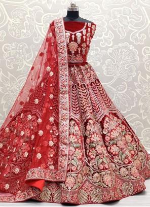 Red Velvet Embroidered Lehenga Choli