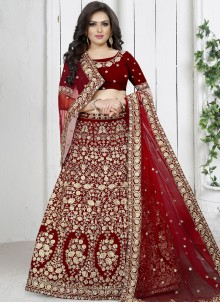 Red Velvet Trendy Designer Lehenga Choli