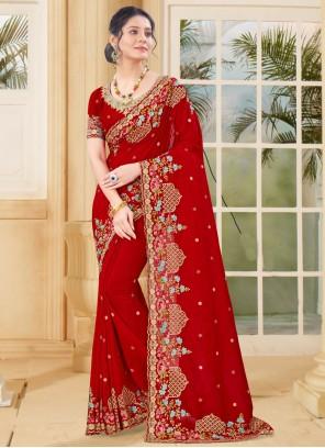 Red Vichitra Silk Designer Traditional Saree