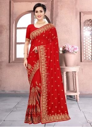 Red Vichitra Silk Embroidered Classic Designer Saree