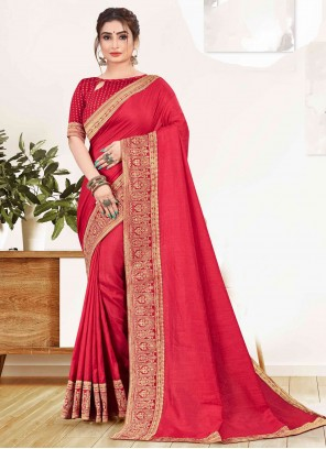 Red Vichitra Silk Festival Designer Traditional Saree