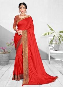Red Vichitra Silk Patch Border Traditional Designer Saree