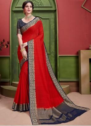 Red Weaving Art Silk Classic Designer Saree