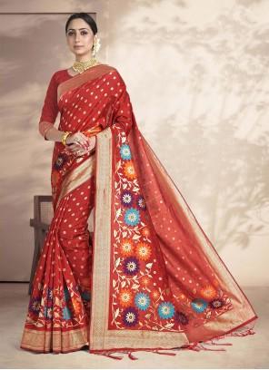 Red Weaving Art Silk Ceremonial Saree