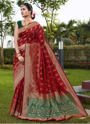 Red Weaving Art Silk Traditional Saree