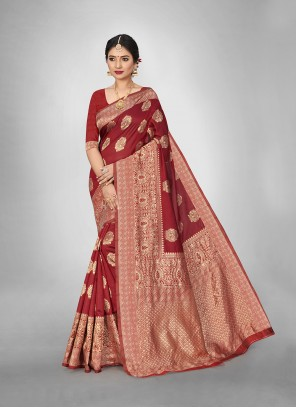 Red Weaving Art Silk Trendy Saree
