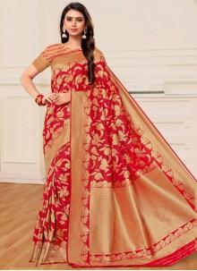 Red Weaving Banarasi Silk Classic Saree