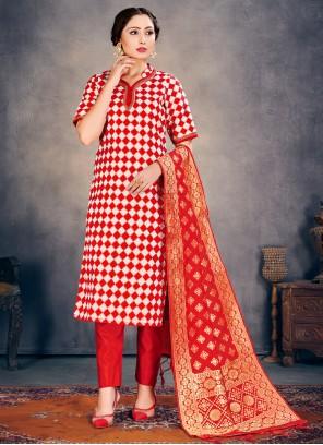 Red Weaving Banarasi Silk Pant Style Suit