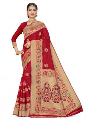 Red Weaving Banarasi Silk Traditional Saree