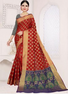 Red Weaving Casual Saree