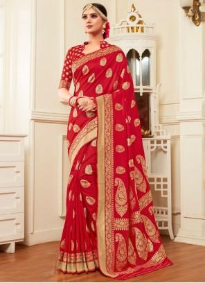 Red Weaving Classic Designer Saree