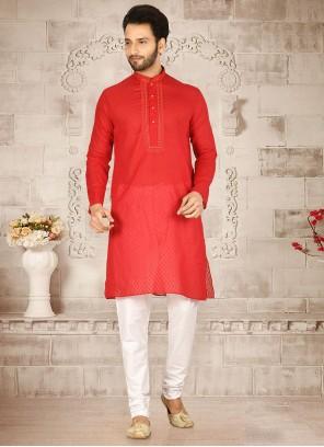 Red Weaving Cotton Kurta Pyjama