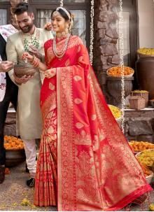 Red Weaving Designer Saree
