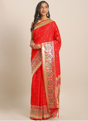 Red Weaving Engagement Saree