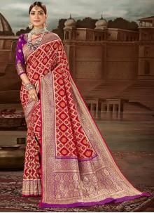 Red Weaving Festival Traditional Designer Saree