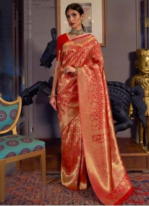 Red Weaving Handloom silk Traditional Saree