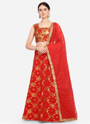 Red Weaving Jacquard Lehenga Choli