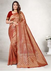 Red Weaving Jacquard Silk Classic Saree