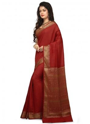Red Weaving Reception Designer Traditional Saree