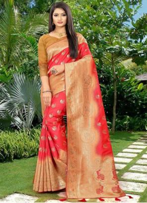 Red Weaving Sangeet Designer Traditional Saree