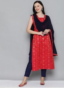 Red Weaving Silk Designer Kurti