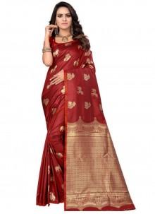 Red Weaving Silk Traditional Designer Saree