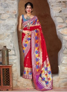 Red Weaving Silk Trendy Saree