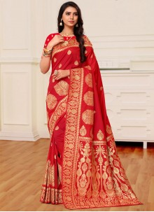 Red Weaving Traditional Saree