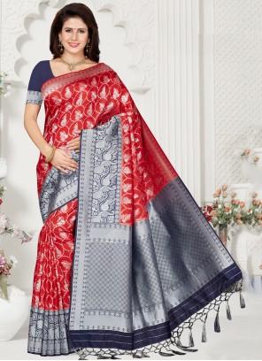 Red Weaving Trendy Saree