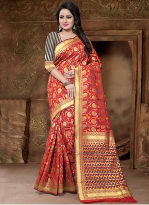 Red Weaving Work Art Silk Designer Traditional Saree
