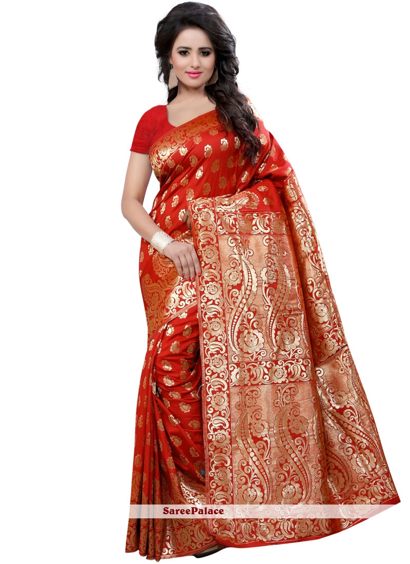 Red Weaving Work Art Silk Traditional Designer Saree