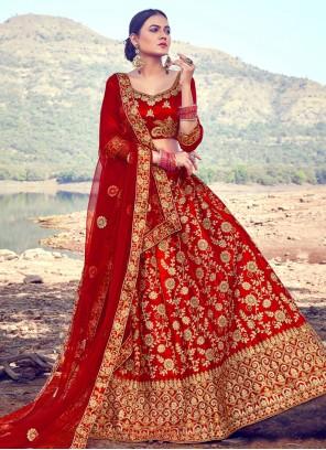 Red Wedding A Line Lehenga Choli