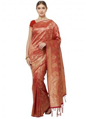 Red Woven Art Silk Classic Saree