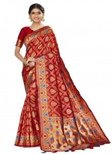 Red Woven Art Silk Traditional Designer Saree