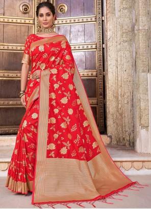 Red Woven Banarasi Silk Classic Designer Saree