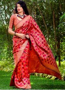 Red Woven Banarasi Silk Trendy Saree