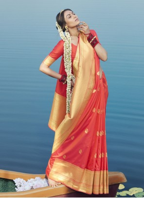 Red Woven Designer Traditional Saree