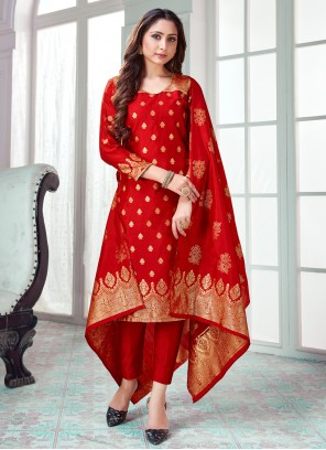 Red Woven Pant Style Suit