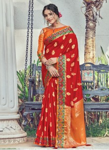 Red Woven Sangeet Designer Traditional Saree